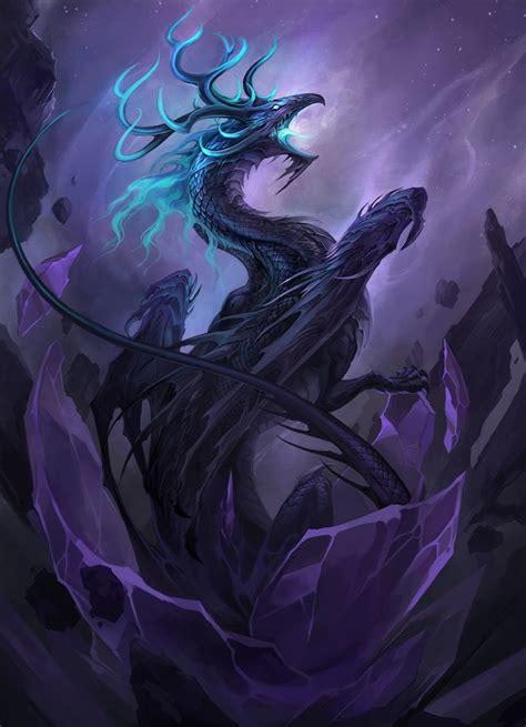 dark dragon fantasy art dragons art two