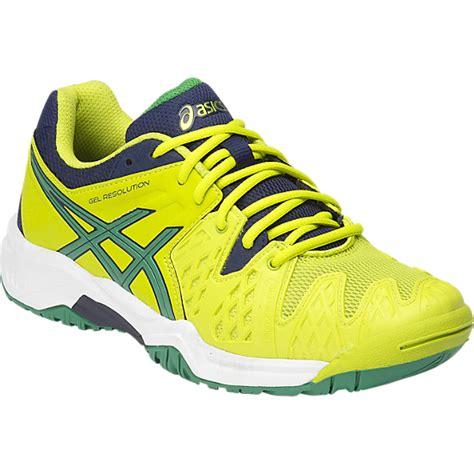 asics gel resolution 6 c500y 0588 lime junior tennis shoe