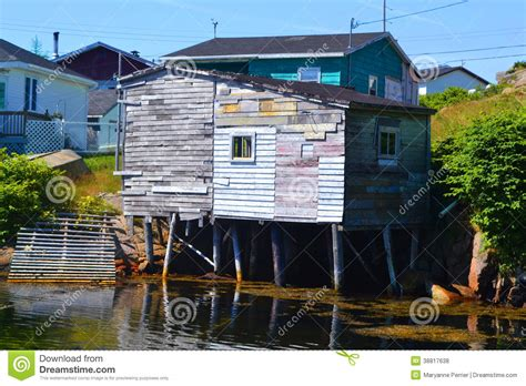 Fish For Shedding by Fishing Shed In Burgeo Newfoundland Stock Photo