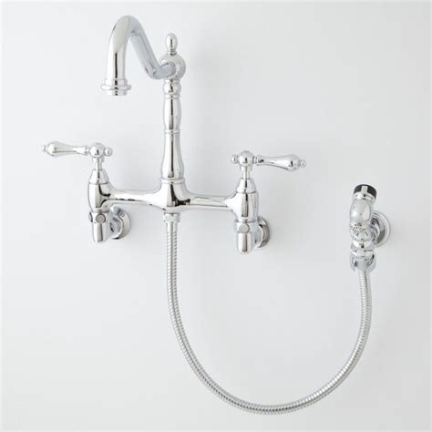 wall mount kitchen faucets with sprayer felicity wall mount kitchen faucet with side spray wall