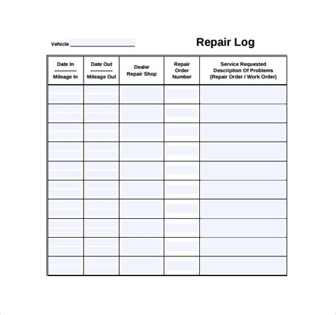 10 Repair Log Templates To Download Sle Templates Mechanic Schedule Template