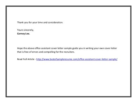 Thank You Letter For Consideration Office Assistant Cover Letter Sle
