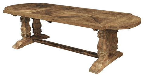 Oval Reclaimed Wood Dining Table Esa Country Reclaimed Pine Parquet Oval Dining Table Traditional Dining Tables By