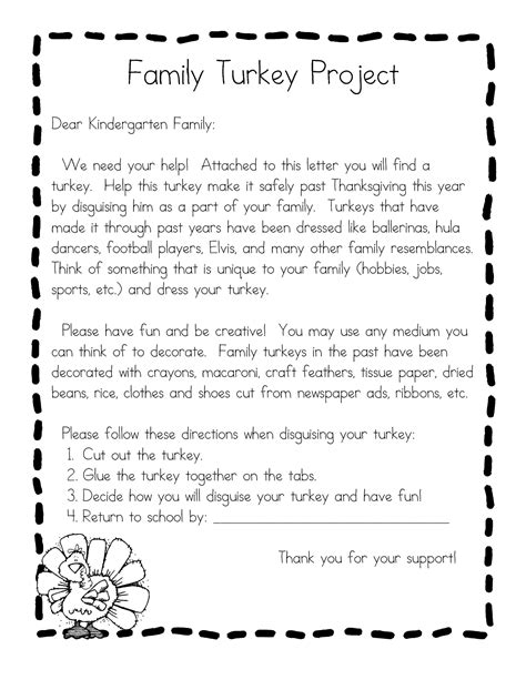 Turkey Disguise Project Template Family Turkey Project Template