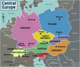 Map of central europe with capitals for each country maps of