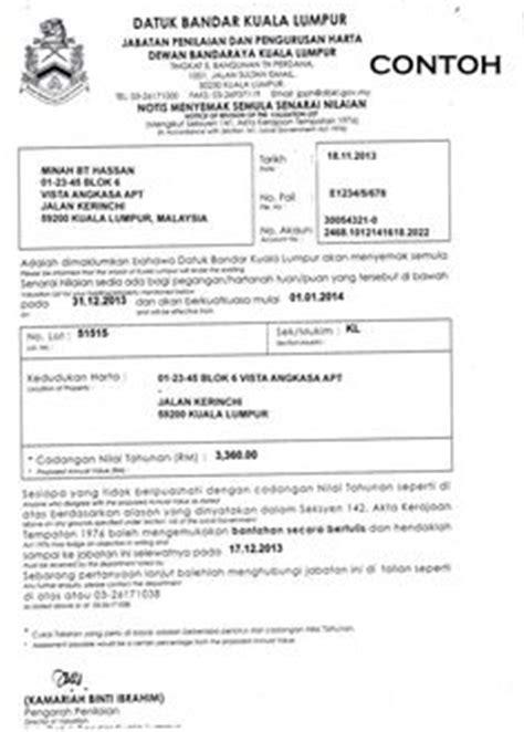contoh surat bantahan cukai taksiran bmalaysia