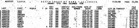 Illinois Records Index Pergler Family History Dorothy Pergler 1922