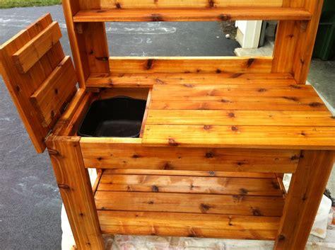 cedar potting bench plans cedar potting bench by jimi lumberjocks com