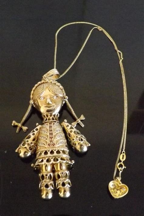antique beautiful rag doll pendant in solid silver gold