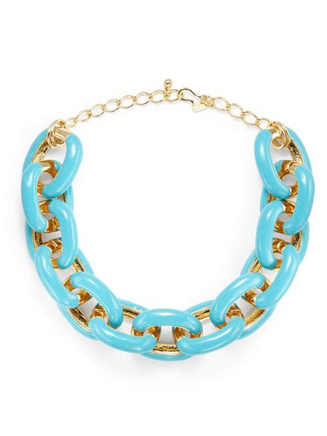 Kenneth Lanes Lipstick Necklace At Outfitters by Kenneth White Chunky Link Necklace In Blue