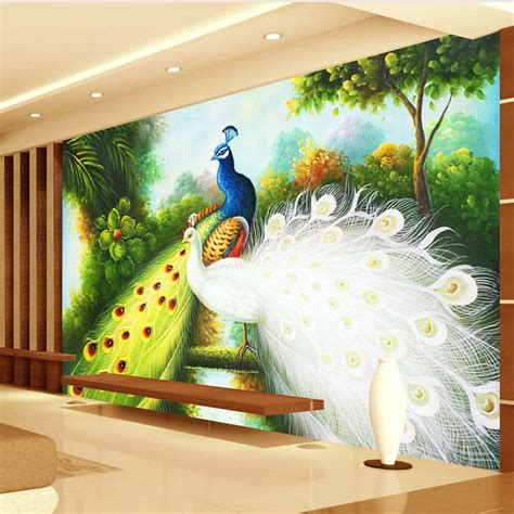 custom  size  photo wallpaper peacock background home