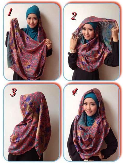 kreasi  berhijab segi empat menggunakan jilbab paris
