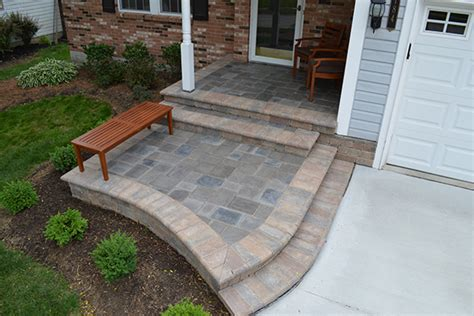 Front Patio Pavers Paver Front Entrance In Gahanna Landscaping Outdoor