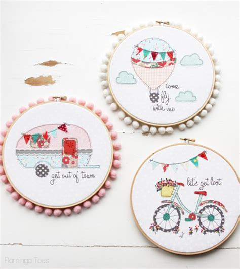 embroidery design in the hoop let s get lost summer bicycle embroidery hoop art
