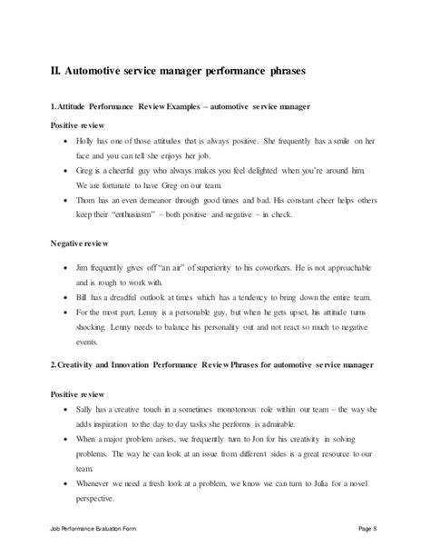 Automotive Service Manager by Automotive Service Manager Performance Appraisal