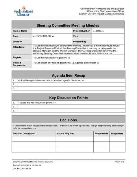 management meeting template project management agenda template professional sle