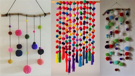 craft work for home decoration diy wall hanging crafts ideas diy with woolen pom pom