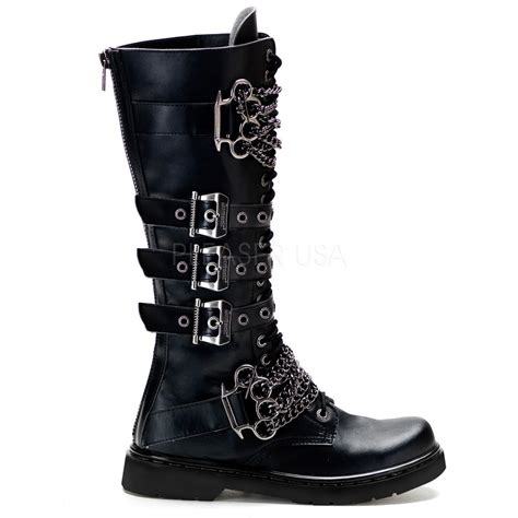 black boots for demonia defiant 402 buckle combat boots