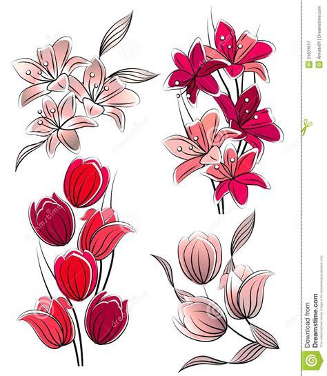 immagini fiori stilizzati insieme dei fiori stilizzati illustrazione vettoriale