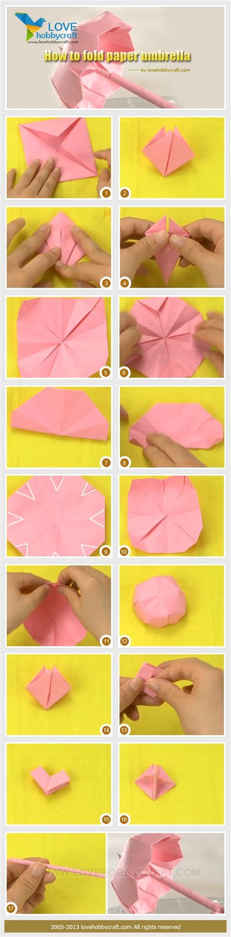 How To Make An Origami Umbrella - step guide for paper umbrella crafts