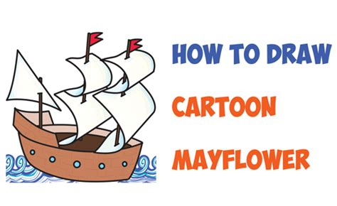 how to draw the mayflower boat how to draw cartoon mayflower ship for thanksgiving easy
