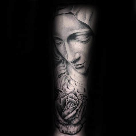 virgin mary with roses tattoo 100 tattoos for religious design ideas