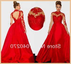 New arrival prom dresses lace long sleeves red v neck backless floor