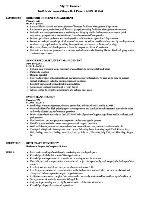 event management resume format event management resume sles velvet