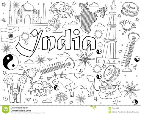 indian doodle artists india coloring book vector illustration stock vector