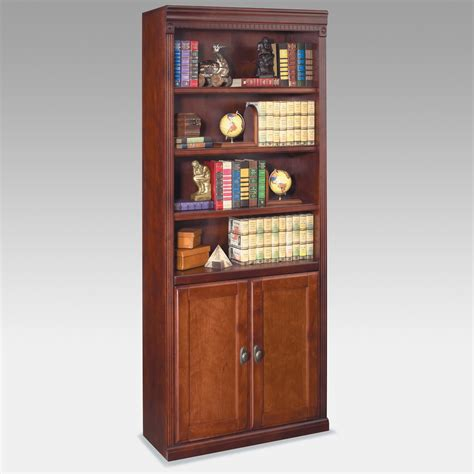Wood Bookcase With Doors Kathy Ireland Home By Martin Huntington Club Wood Bookcase With Doors Cherry Bookcases At