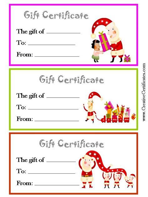 printable christmas gift certificates   page