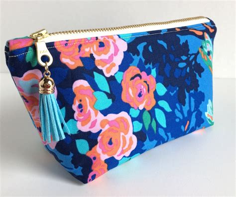 Mini Cosmetic Bag mini cosmetic bag small makeup bag floral makeup bag blue