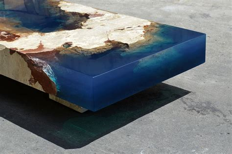 New Cut Stone Tables Encased in Resin Mimic an Ocean Reef   Colossal