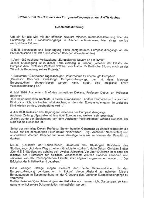Terminanfrage Brief Ezi Aachen