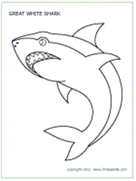 Sharks Printable Templates Coloring Pages Firstpalette Com Great White Shark Template