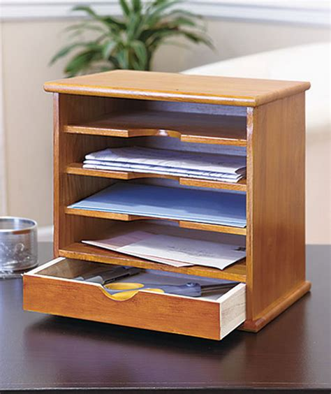 New Desk Mail Organizer 1 Drawer 4 Slot Natural Solid Wood Mail Organizer Desk