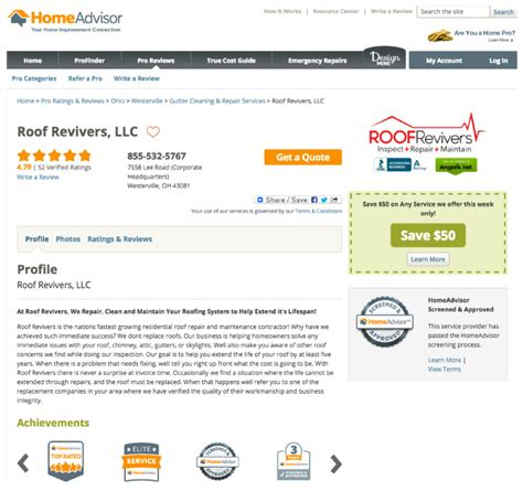 Home Advisor Reviews by Award Winning Services Roof Revivers