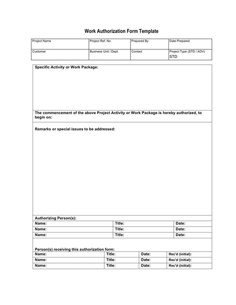 work authorization form template work authorization form template in word and pdf formats