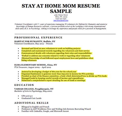 Resume Templates For Stay At Home by Stay At Home Resume Sle Stay At Home Resume