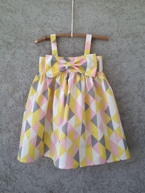 triangle pattern dress pink yellow grey white geometrical triangle by