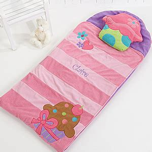 personalized sleeping bag  girls lil cupcake nap mat
