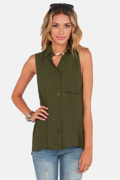 Army Top army green top tunic top sleeveless top 39 00