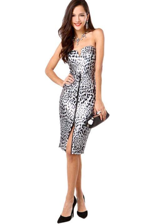 Dress Black Brukat strapless metallic leopard front zip dress my tailor creations leopards