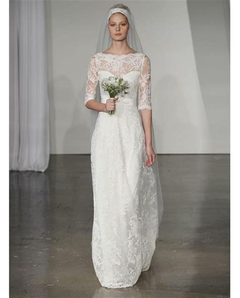 Marchesa wedding dress B80816. ¾ sleeve corded lace gown with bateau neckline and grosgrain belt