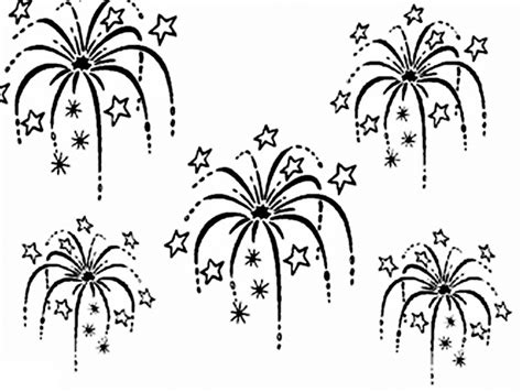 fireworks clipart coloring page pencil and in color