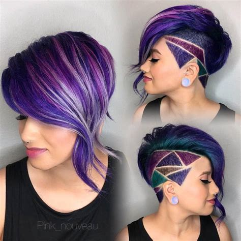 hairstyles and design shaved side bob with purple oil slick hair and shaved hair