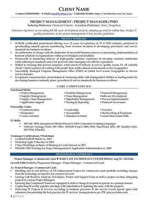 resume templates pmo manager cv sle purchase manager