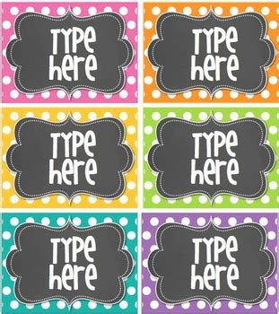Editable Polka Dot Tags Bright Polka Dot With Chalkboard 6 Classroom Tags Bin Labels Template