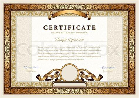 Moderne Gutschein Vorlage Vintage Zertifikat Mit Gold Luxus Ornamentrahmen