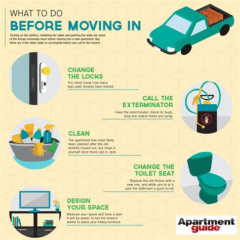 what to do before moving in infographic apartmentguide